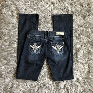 Bedazzled GUESS Distressed Jeans, Boot Cut